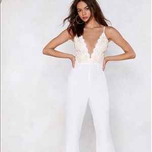 Nasty Gal White Jumpsuit with Gold top